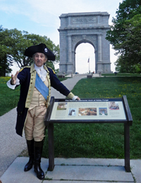 General Washington (Carl Closs) conducts Valley Forge tour